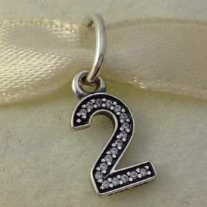 PANDORA Sterling Silver Number Two 2 Dangle Charm